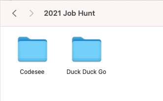 Child folders sitting in a dated parent folder for this job hunt.